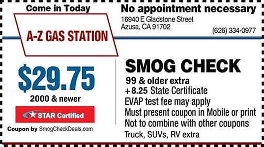 photo relating to Printable Gas Coupons identify Discounted Smog Watch Coupon Azusa